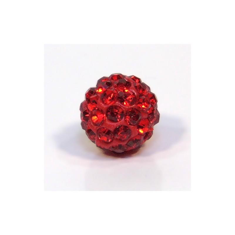 Намистинки Шамбала зі стразами, 10 мм, червоні