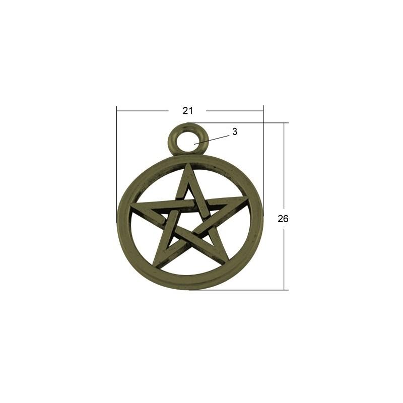 Підвіска пентаграма, 21мм, бронзова