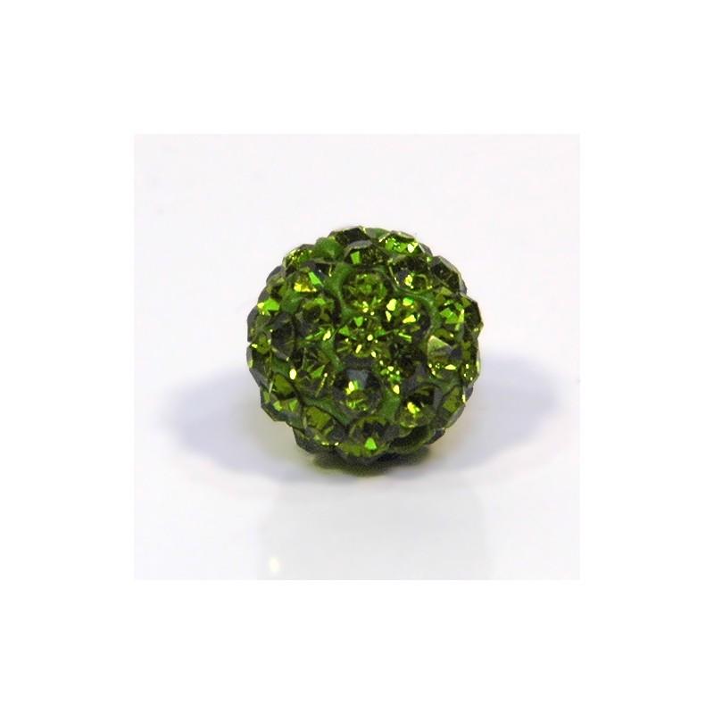 Намистинки Шамбала зі стразами, круглі, 10 мм у діаметрі, оливкові
