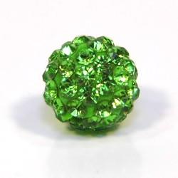 Намистинки Шамбала зі стразами, круглі, 10 мм у діаметрі, зелені
