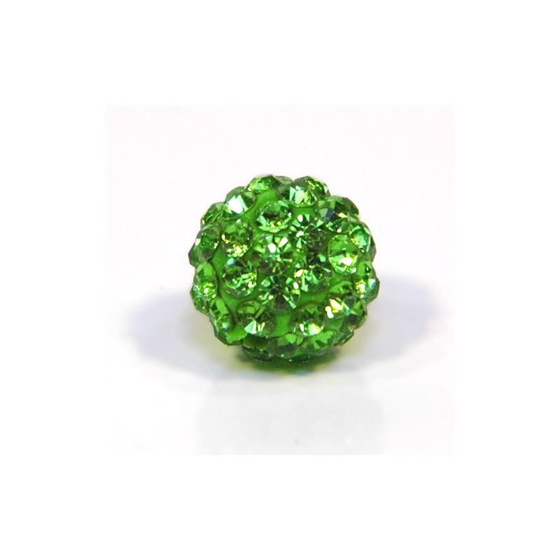 Бусины Шамбала в стразах, 10 мм в диаметре, зеленые