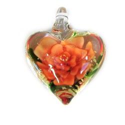 Подвеска Сердце, 32-27-15мм, Лэмпворк, прозрачное с красным цветком