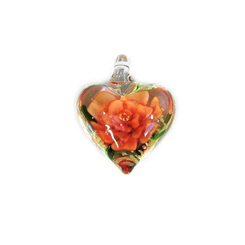 Підвіска Серце, 32-27-15мм, Лемпворк, прозоре з червоною квіткою