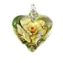 Подвеска Сердце, 32-27-15мм, Лэмпворк, прозрачное с желтым цветком