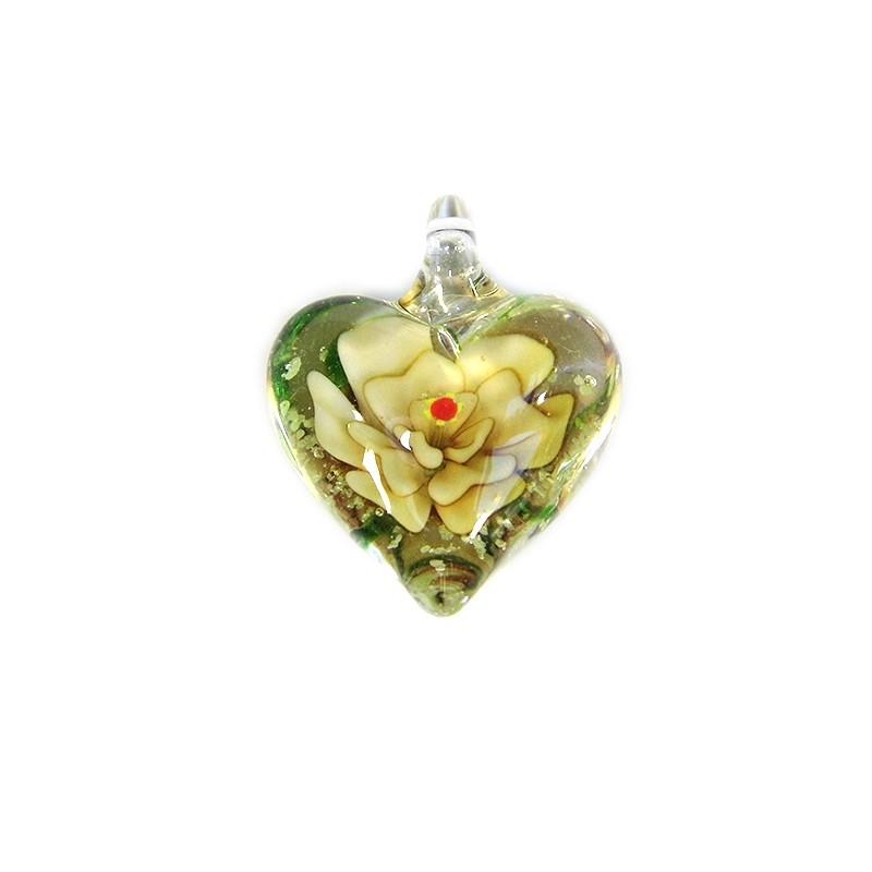 Підвіска Серце, 32-27-15мм, Лемпворк, прозоре з жовтою квіткою