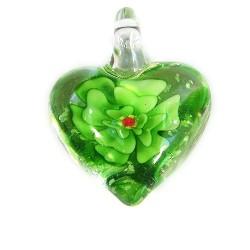 Подвеска Сердце, 32-27-15мм, Лэмпворк, прозрачное с зеленым цветком