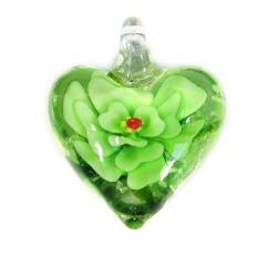 Підвіска Серце, 32-27-15мм, Лемпворк, прозоре з зеленою квіткою