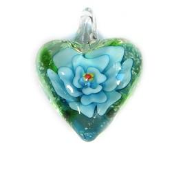 Подвеска Сердце, 32-27-15мм, Лэмпворк, прозрачное с голубым цветком