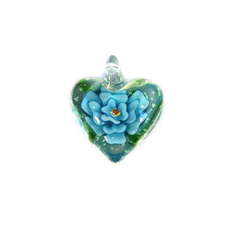 Підвіска Серце, 32-27-15мм, Лемпворк, прозоре з блакитною квіткою