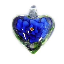 Подвеска Сердце, 32-27-15мм, Лэмпворк, прозрачное с синим цветком