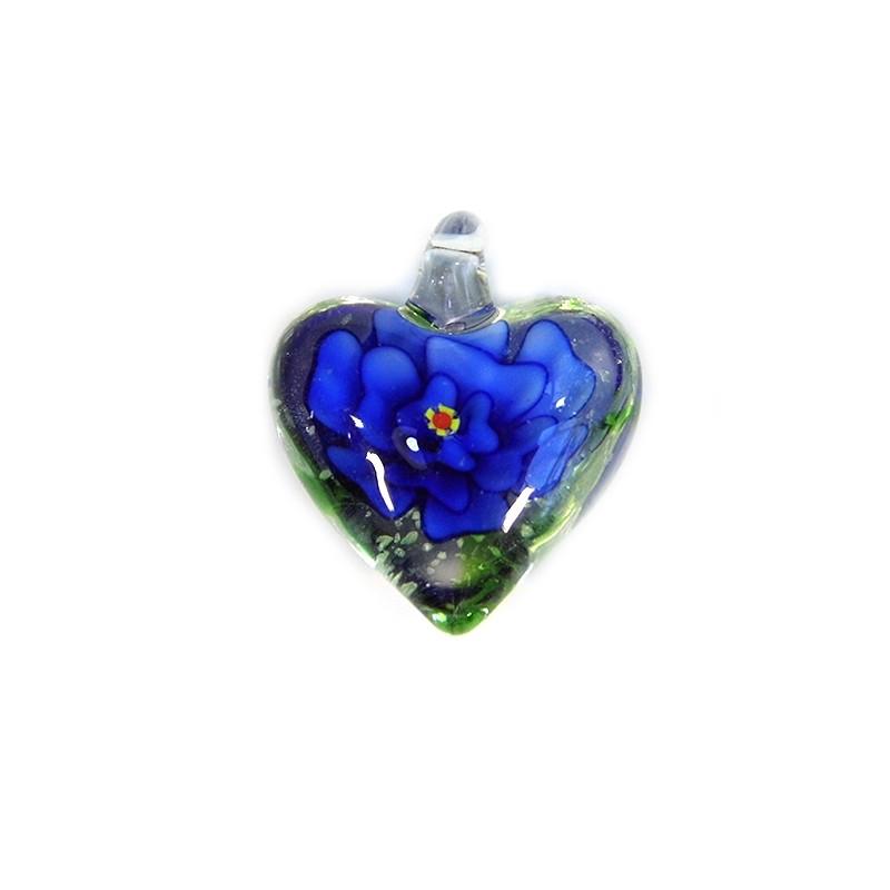 Підвіска Серце, 32-27-15мм, Лемпворк, прозоре з синьою квіткою