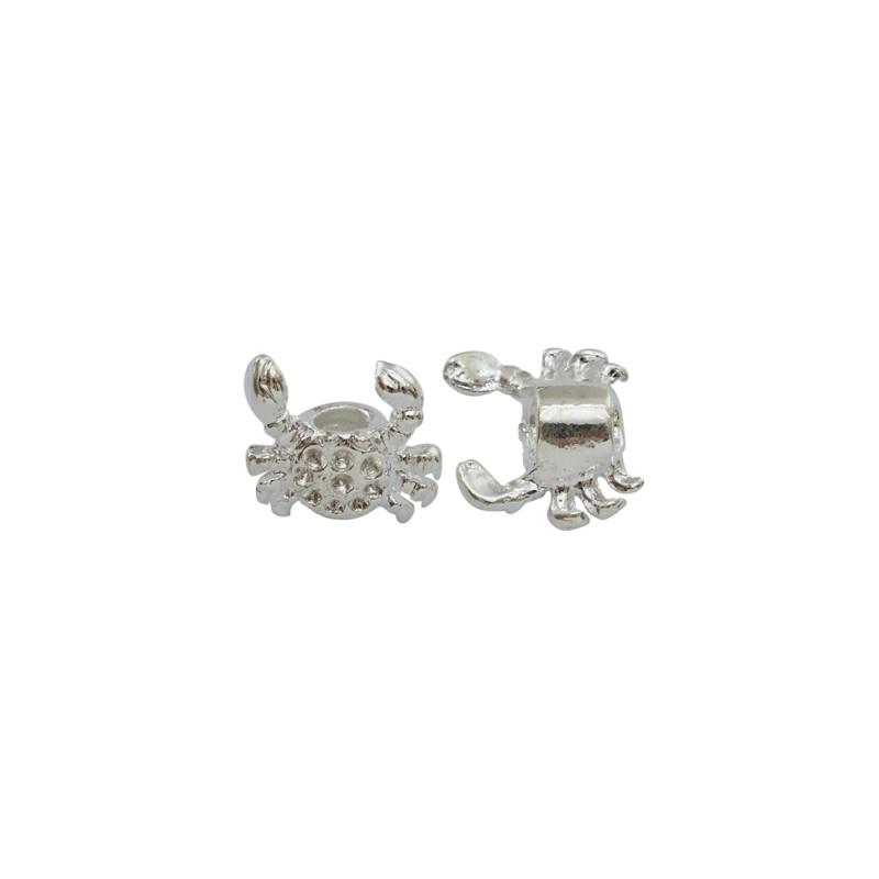 Намистина Краб, металева, 15х16 мм, срібляста