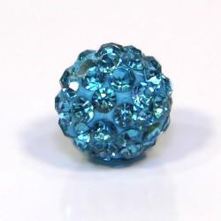 Намистинки Шамбала зі стразами, 10 мм у діаметрі, блакитні