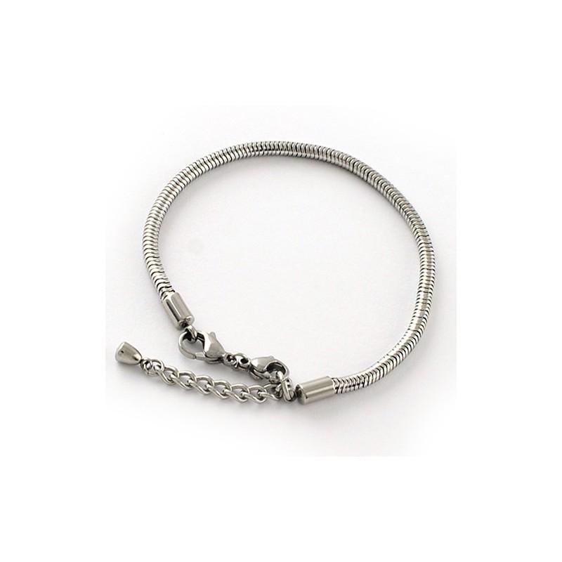 Основа для браслета Пандора, 19-23 см регулюється, медична сталь, сталевий колір.