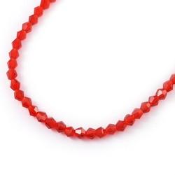 Бусина біконус 4мм, червона, гранована