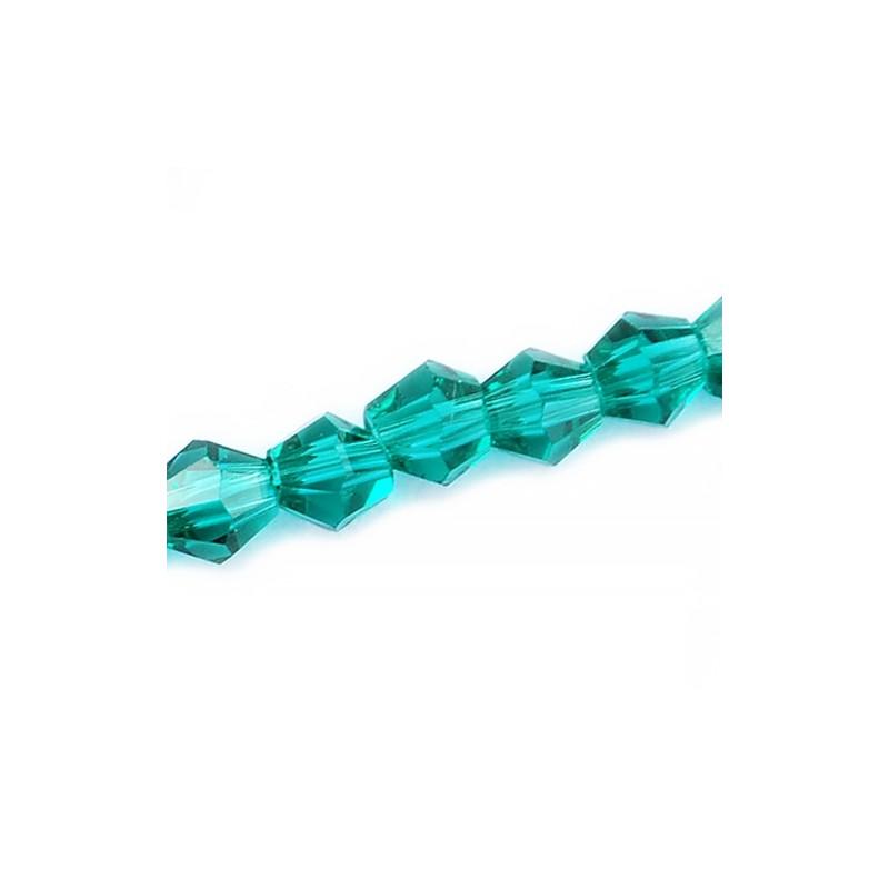 Намистина біконус 4мм, бірюзова (циан), гранована