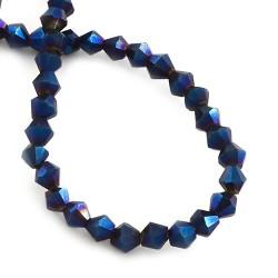 Намистина біконус 4мм, темно-синя (хамелеон), гранована