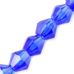 Намистина біконус 4мм, синя, гранована