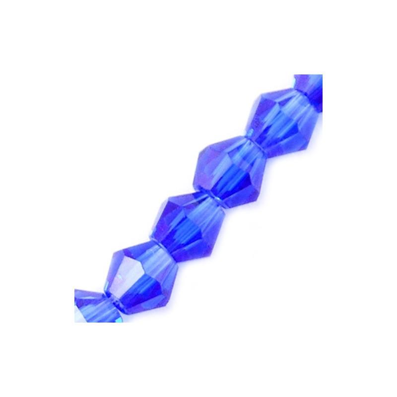 Бусина биконус 4мм, синяя, граненая