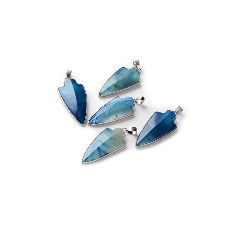 Кулон сине-голубой Агат, 20х45мм, стрела