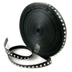 Стрічка атласна, 10мм, чорна з білими сердечками, 1м