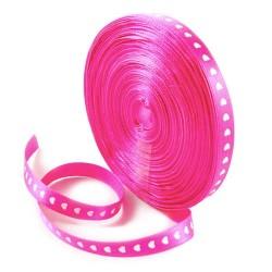 Стрічка атласна, 10мм, рожева з білими сердечками, 1м