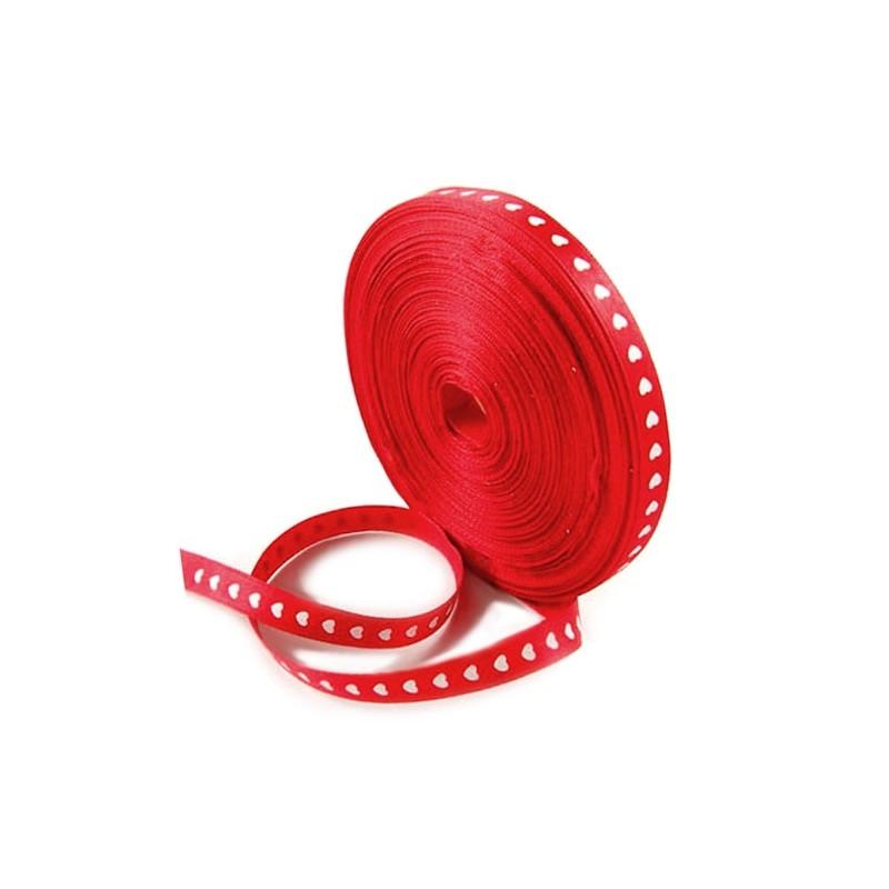 Стрічка атласна, 10мм, червона з білими сердечками, 1м
